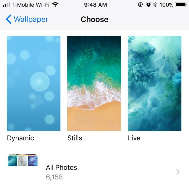 As in iOS 10 Apple has three wallpaper categories Dynamic Stills and Live