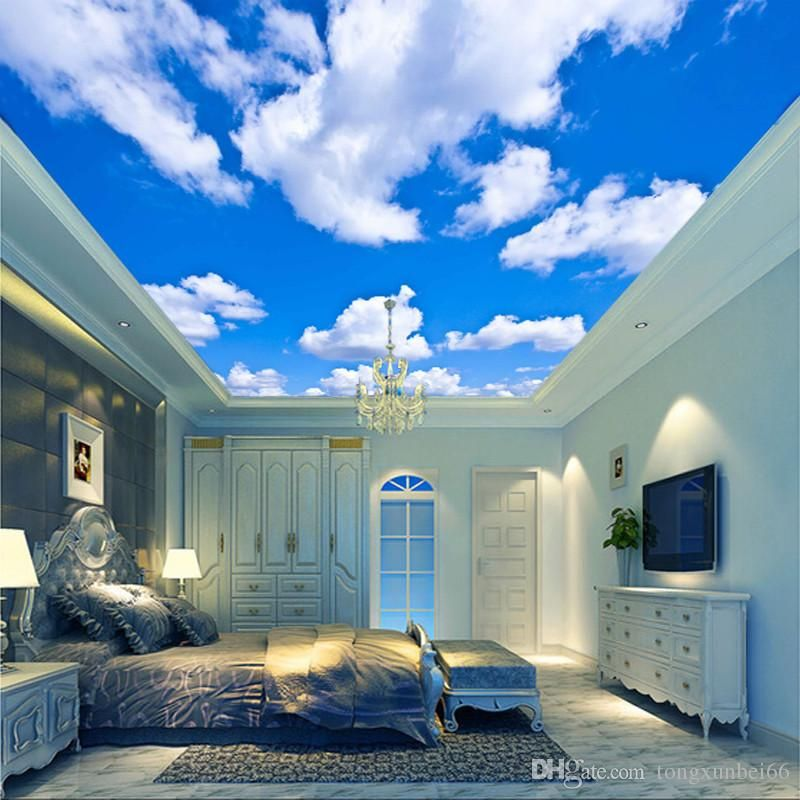 Blue Sky White Cloud Wallpaper Mural Living Room Bedroom Roof Ceiling 3d Wallpaper Ceiling Starry